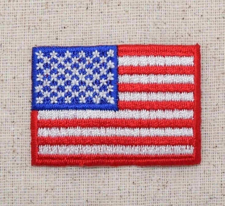 """Iron On Embroidered Applique Patch American Flag 2"""" Patriotic USA"""