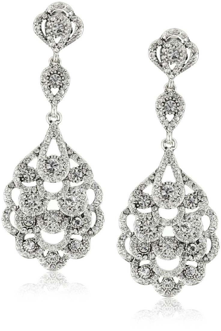 Nina Bridal Eiffel Antique Silver Crystal Statement drop ...