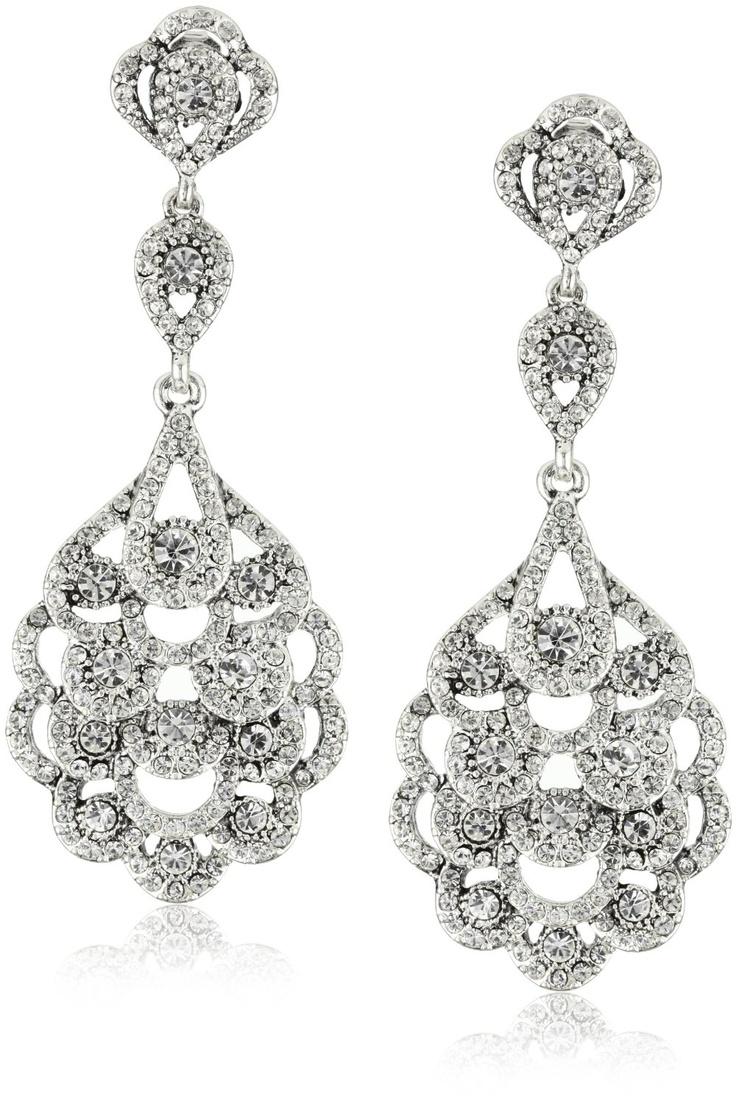 Nina Bridal Eiffel Antique Silver Crystal Statement drop ...