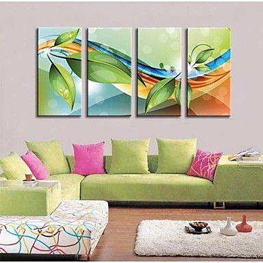 gepersonaliseerde bedrukte doek bladeren en curves 30x60cm 40x80cm 50x100cm ingelijst canvas schilderij set van 4 – EUR € 36.35