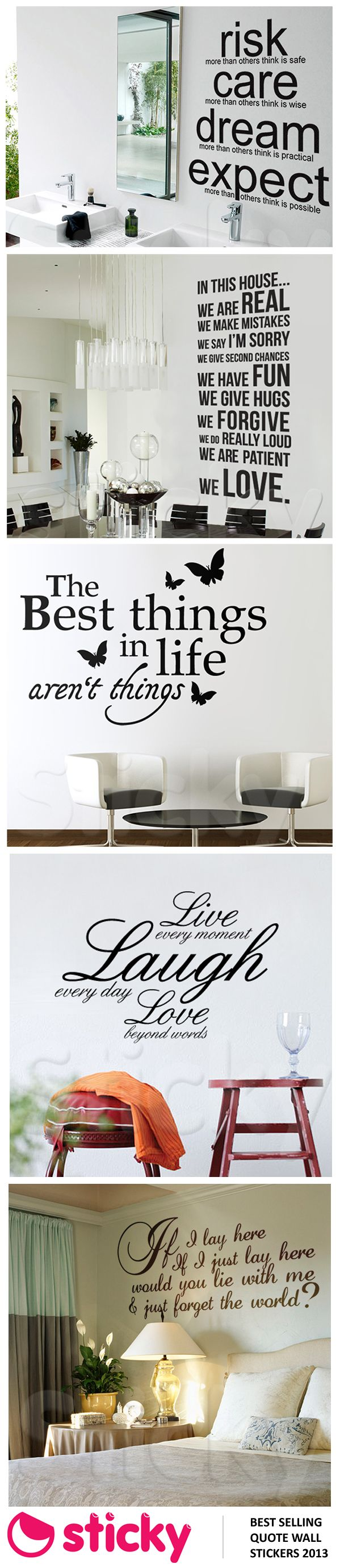 STICKY - Our best selling quote wall stickers for 2013 based on sales!