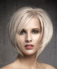 Short Straight Formal Bob Hairstyle with Side Swept Bangs – Light Ash Blonde Hair Color