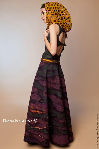 "Юбка из мериносовой шерсти и шёлка ""Дриада"". Handmade. #felting"