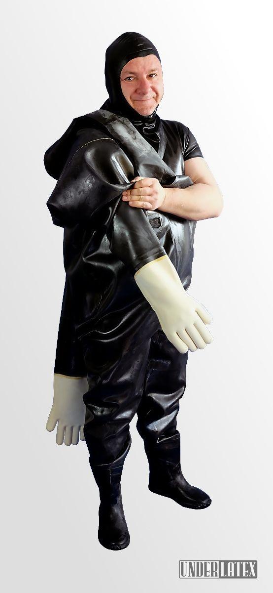 Heavy Rubber schwerer Gummianzug mit Stiefeln und Handschuhen 1,2mm Gummi in schwarz