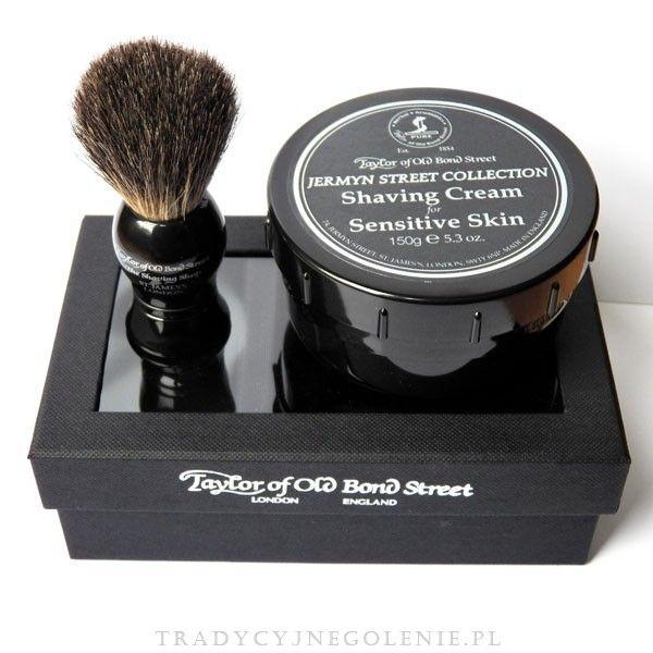 Zestaw prezentowy Taylor of Old Bond Street - wysokiej jakości ręcznie robiony pędzel do golenia z włosia borsuka (100% borsuk, wysokość 9,5cm ) oraz krem do golenia Taylor of Old Bond Street - Jermyn Street Collection dla skóry wrażliwej 150g w tygielku. Idealny jako zestaw prezentowy dla klienta biznesowego (wystawiamy faktury VAT).