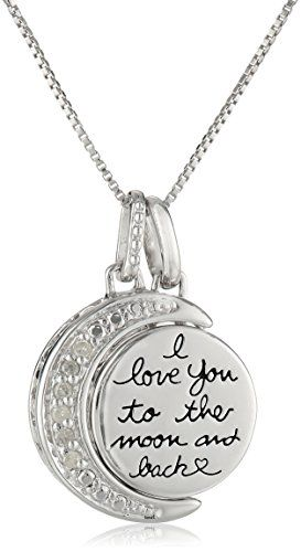 "ON SALE now at http://JewelryDealsNow.com/?a=B00NZ831D2 : Sterling Silver Two-Piece Diamond-Accent Moon ""I Love You to the Moon and Back"" Pendant Necklace, 18"""