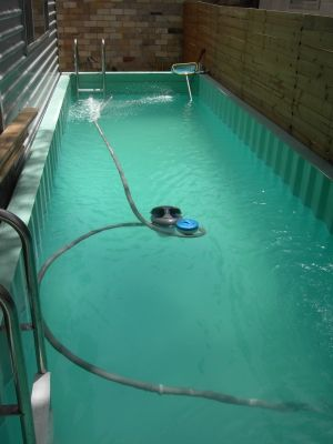 What?!?! It's a pool inside a shipping container. And I thought you could only use them for firefighter training.....