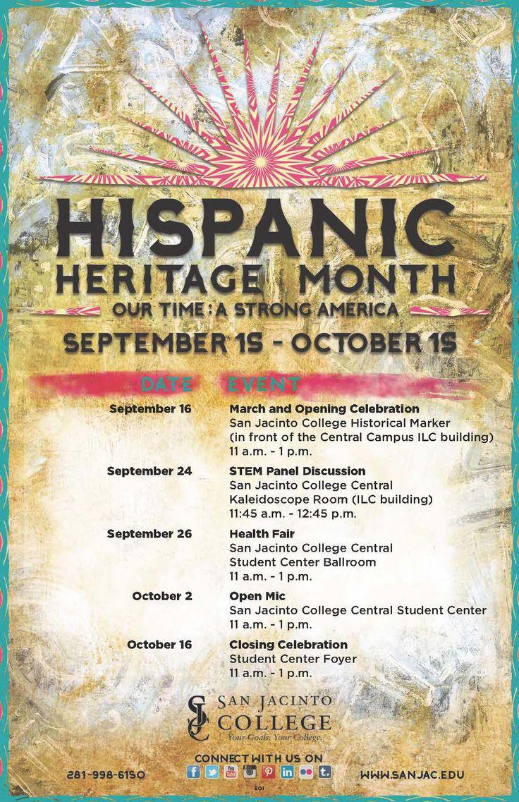 FREE events during Hispanic Heritage Month at San Jacinto College. #Hispanic #Culture #Diversity #SanJac #SanJacCollege