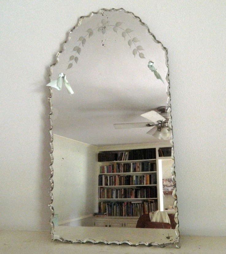 Vintage etched beveled mirror frameless vintage beveled for Old style mirror