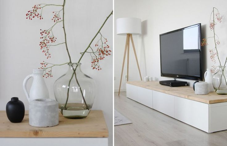 IKEA TV Stand Designs You Can Build Yourself The IKEA Besta cabinet/bookshelf is also really versatile and you can easily repurpose it as a TV stand. It's a minimalist piece that would look particularly nice in a modern or contemporary setting. It's wide enough to also leave room for displaying a beautiful vase.