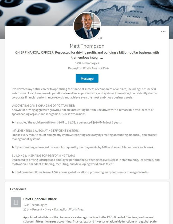 Linkedin profile example for a chief financial officer