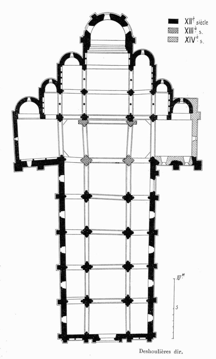 Eglise Saint-Genès de Châteaumeillant (Cher), début du XIIe siècle : plan basilical de type bénédictin ou plan basilical à chapelles échelonnées (c'est le plan le plus répandu de l'architecture du second art roman).