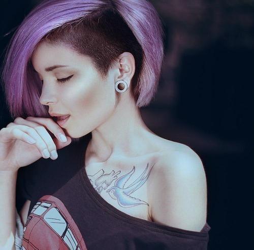 Purple punk bob hairstyle