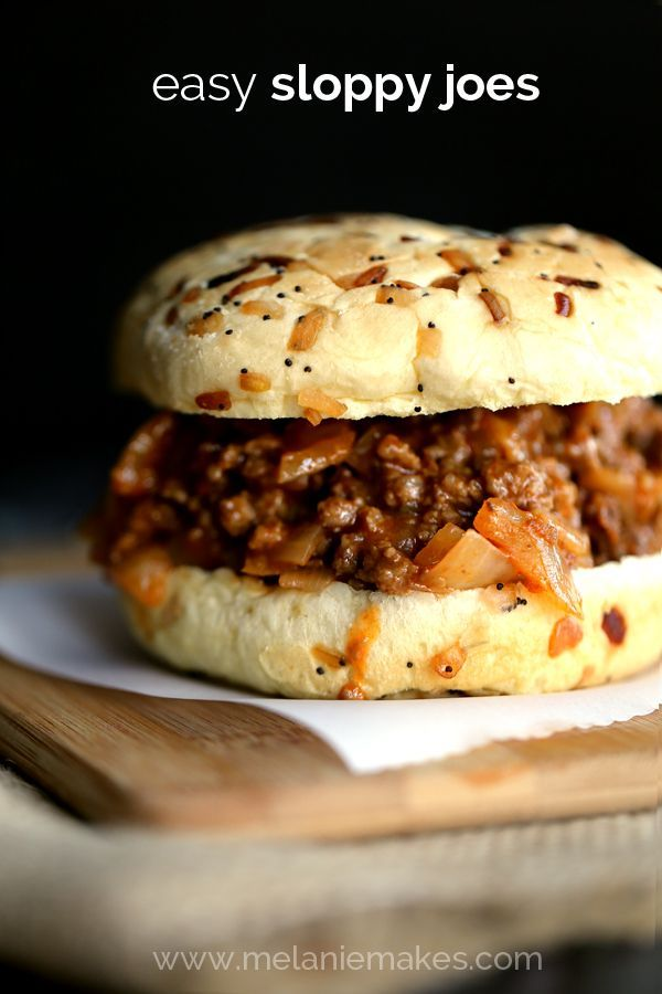 These Easy Sloppy Joes are just that  C EASY  Ground beef is browned with diced onion and green pepper before being stirred together with a delicious tomato based sauce  Dinner will be on the table in 30 minutes  C if you can wait for it to simmer that long   C and you  ll wonder why you ever bought that canned stuff