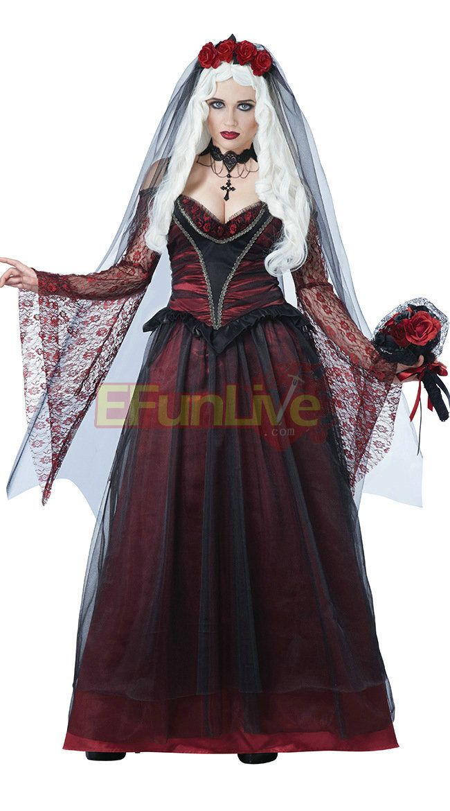 Ghost Bride Witch Cosplay Costume Vampire Queen Halloween Fancy Dress! High quality and fast shipment. Perfect for cosplay party and performance show. Come and Buy right away!