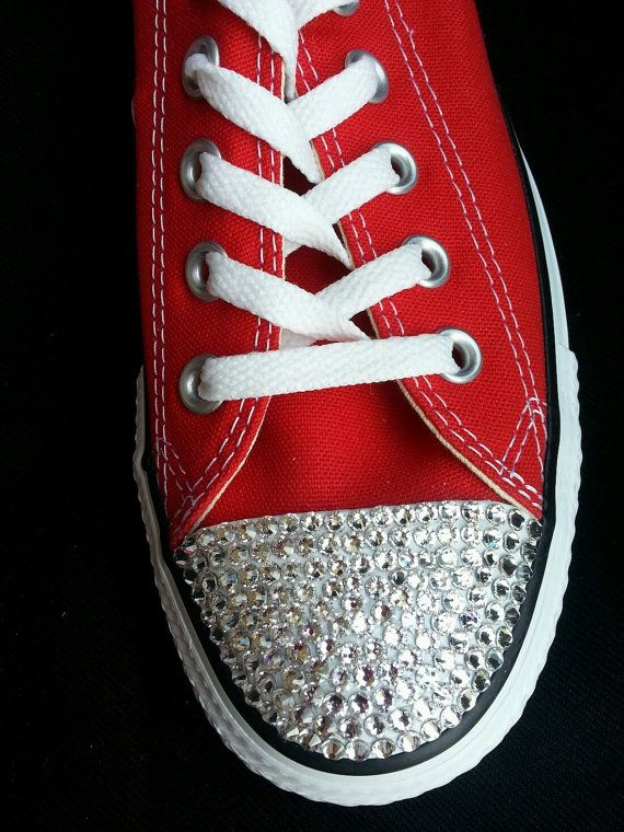 CONVERSE All Stars Adult Sizes Red with by AprilsLittleBoutique