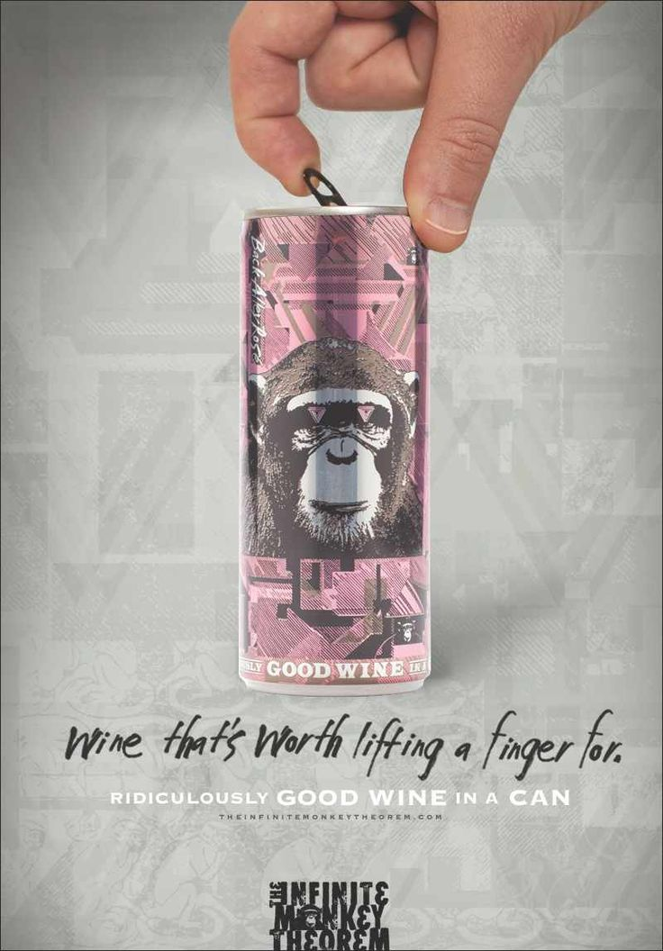 The Infinite Monkey Theorem: Finger  Wine that's worth lifting a finger for. Ridiculously good wine in a can. Advertising Agency: Grit, USA Creative Directors: Sean Topping, Holly Menges Copywriter: Holly Menges Art Directors: Tim White, Adam Jeffers