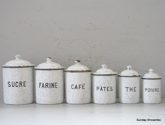 Perfect Black And White Kitchen Canister Sets | White Enamel Canister Set By  SundayBrocantes On Etsy