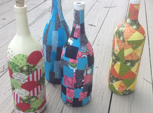 Image result for how to fabric decoupage wine bottle for Using fabric paint on glass