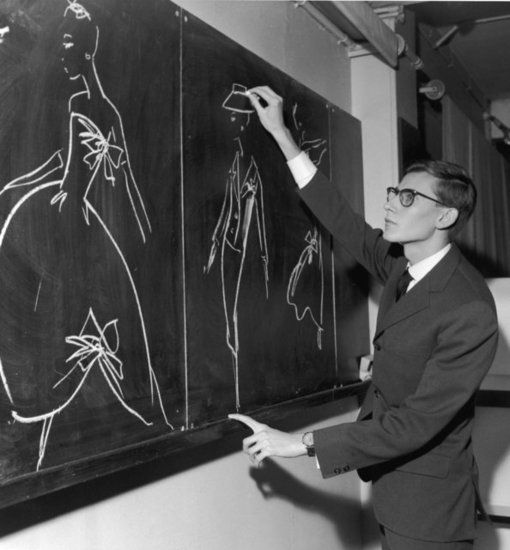 Yves Saint Laurent creating chalk illustrations for Dior in 1960.