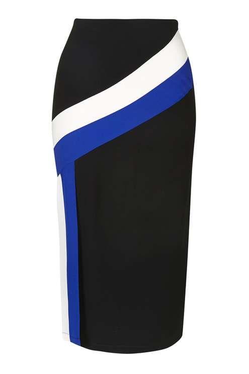 Colour Block Stripe Midi Skirt