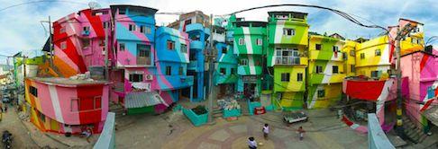 Santa Marta Favela Painting, by Haas & Hahn in Rio de Janeiro, Brazil, 2010