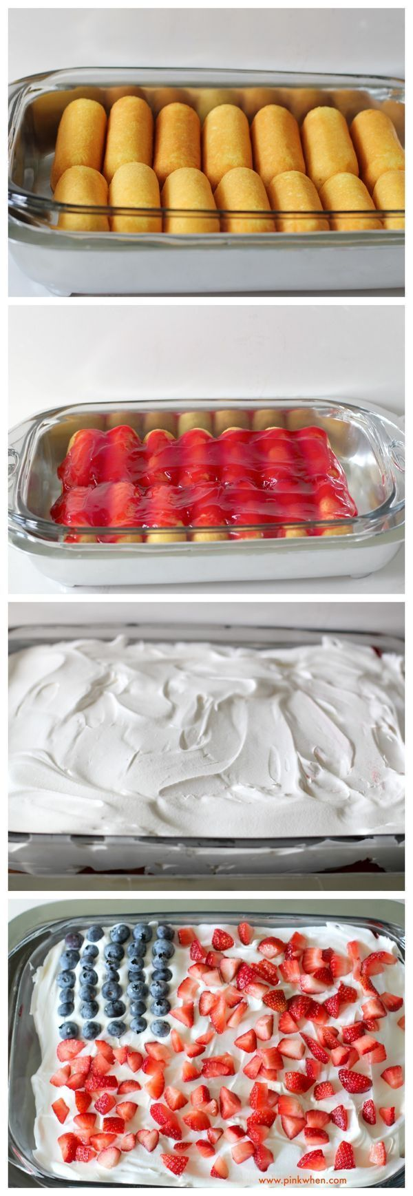 NO BAKE Strawberry-Blueberry Patriotic Cloud Cake with only 4 Ingredients. Great for fourth of July.