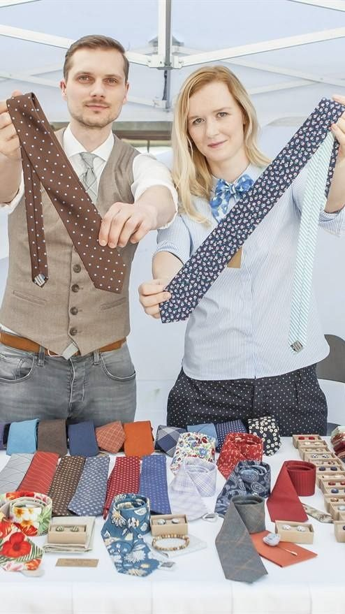 Our stand at Prague's Dyzajn market. You can shop original neckties, bowties and pocket squares in our Etsy shop.