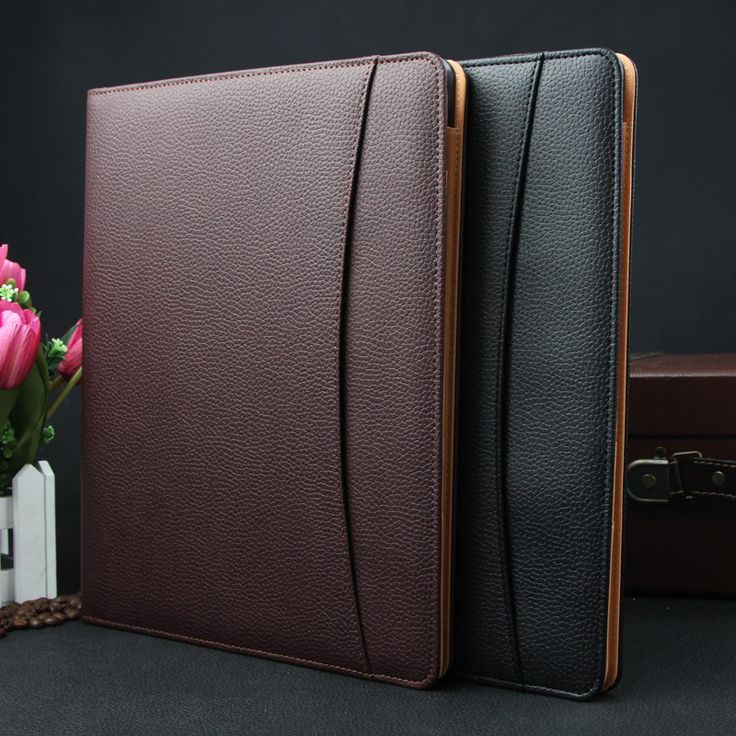 A4 Leather File Folder Luxury Large Multifunction Manager Docunment Bag Office Business Padfolio Supplies+Calculator+A4 Notes