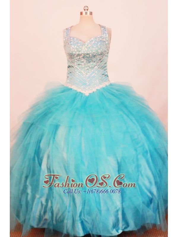 Exquisite Little Girl Pageant Dresses Ball Gown Strap Floor-Length Baby Blue- $168.89  www.fashionos.com  elegant little girl dress | girls favourite dresses | discount little girl dress | ball gowns for birthday party | little girl dress with zipper up back | sandi toksvig online store from designer cheap little girl dresses |