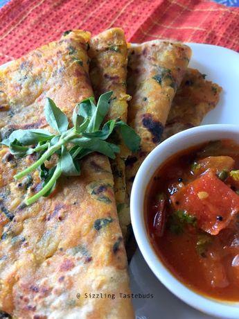 Methi Aloo Paratha - Vegan flatbread with Fenugreek leaves + potato