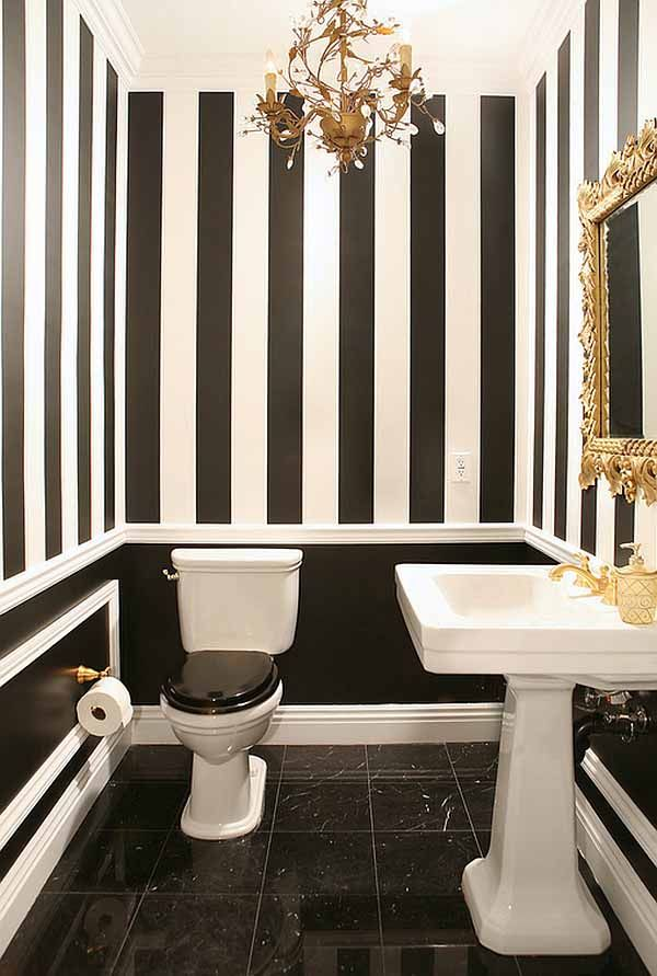 Bathroom with black and white wallpaper