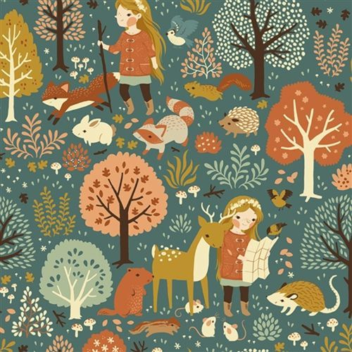 """Nature Hike"" print in the Acorn Trail collection by Birch Organic Fabric."