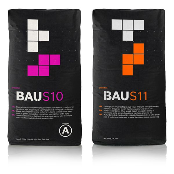 Packaging with bold fluorescent tetrimino detail created by Mousegraphics for Bau's building material range.