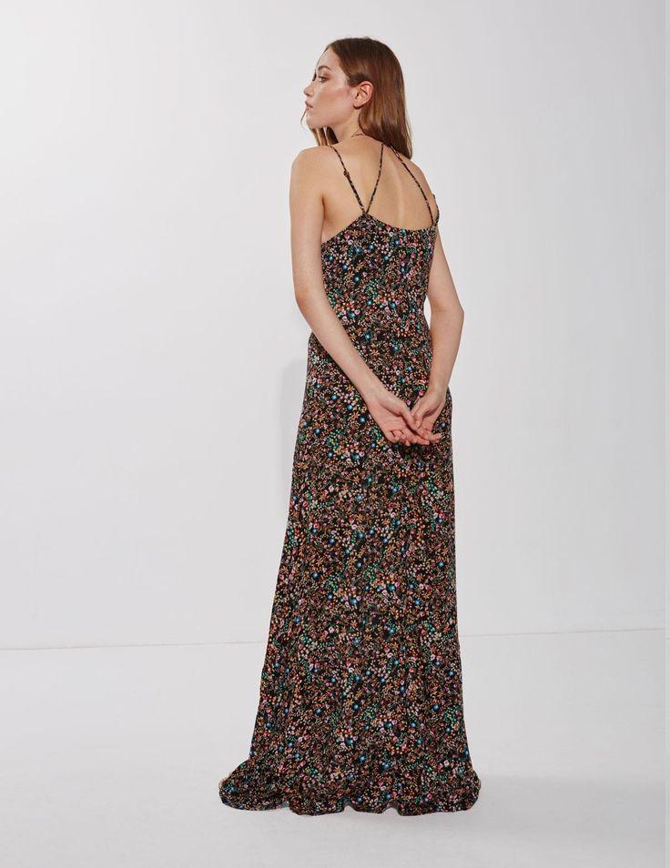 Yerse long spaghetti-strap dress with mini floral print.