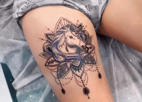 Unicorn Tattoo on Thigh by Anna Yershova
