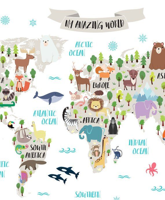 Animal World Map For Kids Map Art World Map Printable Nursery