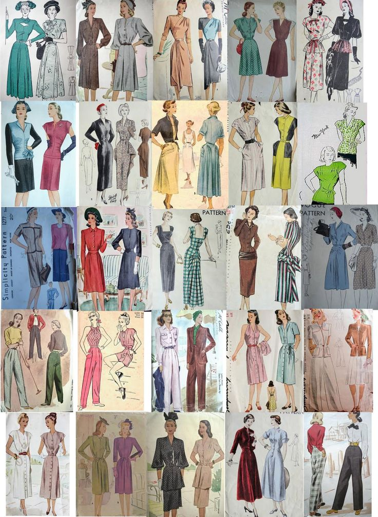 images of 1940's fashion | Forties Fashions: 1940's Fashion Designs for Sewing Patterns
