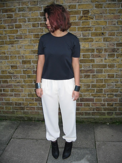 navy neoprene top, white trousers, silver cuffs, Margiela boots #outfit #streetstyle