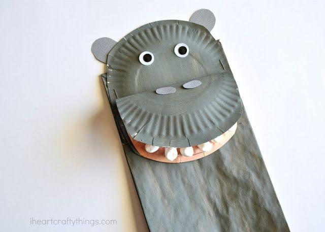 I HEART CRAFTY THINGS: Paper Bag Hippopotamus Kids Craft