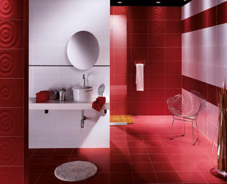 Red bathroom decorating ideas 7