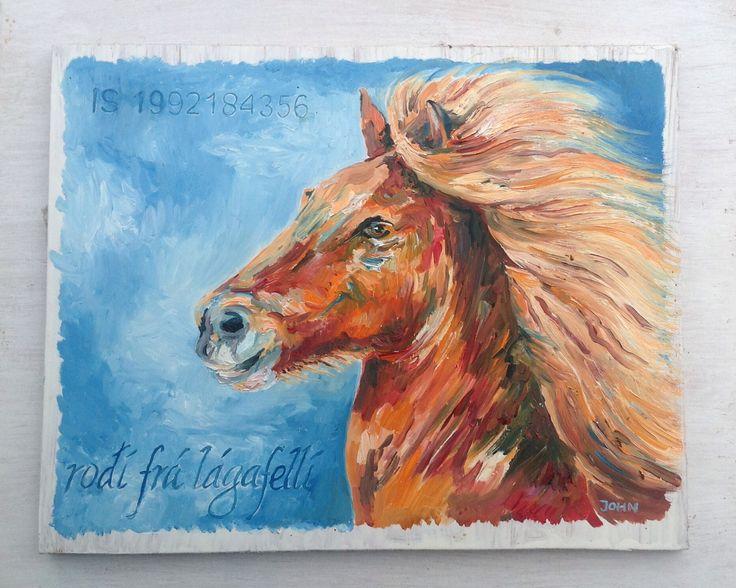 Olieverf IJslands paard Rodi fra Lagafelli / John Karanelan