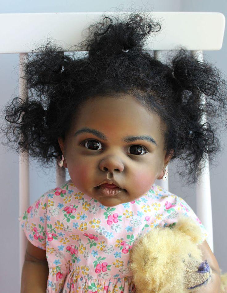 Reborn Big Baby Doll Toddler AA Ethnic Black Tippi By Artist Katie Messou