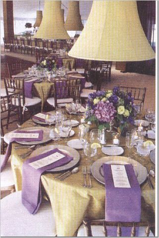 Anyone have photos of their purple wedding?  Need help with colors. :  wedding decor purple reception romantic 2158115 1