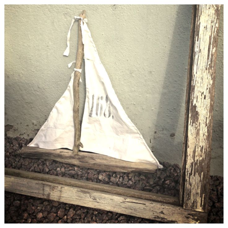 My little Ship made from sticks I've got from My son.❤ The mainsail is made from an old pillowcase!