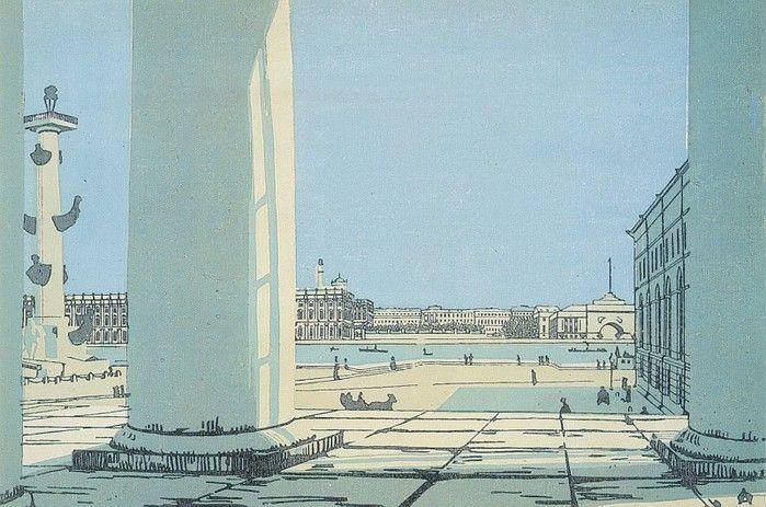 Нева сквозь колонны Биржи. Из серии цветных ксилографий «Петербург». 1908. (700x463, 103Kb)