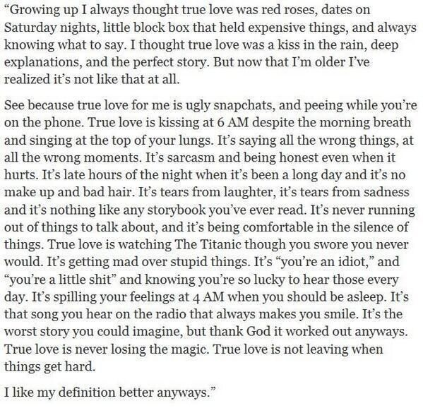 My definition of love, this is perfect! it really fits us. :)