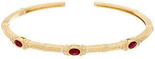 Judith Ripka Ruby, Emerald or Sapphire & Diamond Cuff Bracelet, 14K