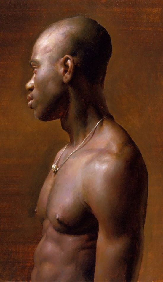 """Vincent"" - Jacob Collins, 1998, oil on canvas {figurative african-american male shirtless torso bald black man profile portrait cropped painting} Jewel !!"