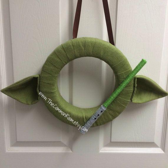 Yoda inspired door hanging wreath handmade one of a kind home decor